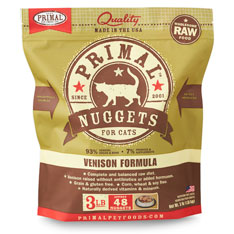 Primal Raw Nuggets Venison Formula Raw Frozen Cat Food, 3-lbs