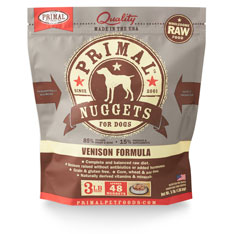 Primal Raw Frozen Nuggets Venison Formula Dog Food, 3-lb