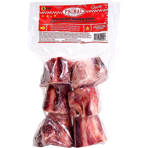 "Primal Raw 2"" Buffalo Marrow Bone Raw Frozen Dog Treat, 6pk"