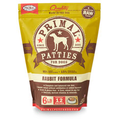 Primal Raw 8-oz Patties Rabbit Formula Raw Frozen Dog Food