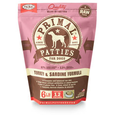 Primal Raw 8-oz Patties Turkey & Sardine Formula Raw Frozen Dog Food, 6-lbs