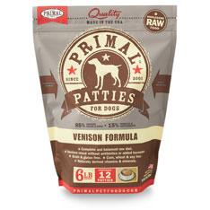 Primal Raw Frozen Patties Venison Formula Dog Food, 6-lb