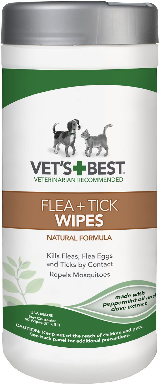 Vet's Best Flea + Tick Dog & Cat Wipes, 50 count