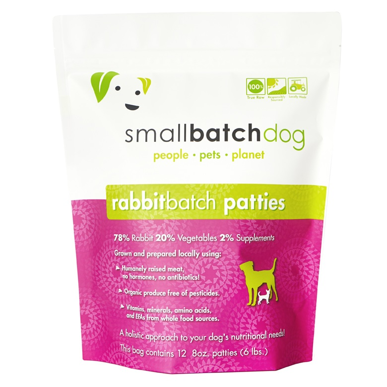 Small Batch Dog Rabbit Batch 8-oz Patties Raw Frozen Dog Food, 6-lb