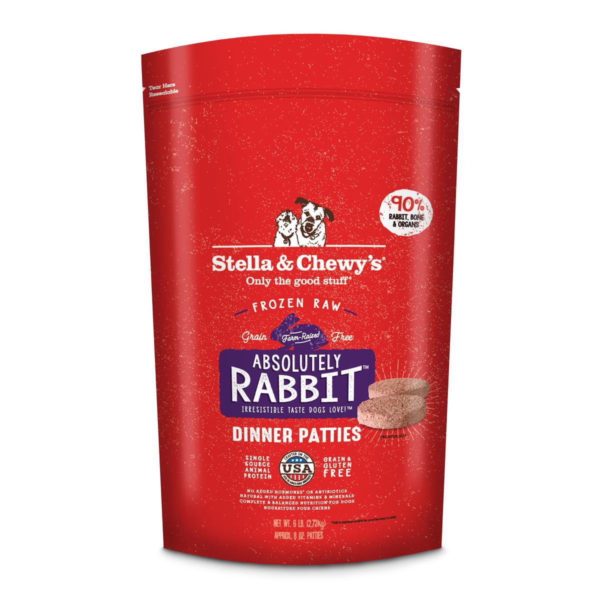 Stella & Chewy's Absolutely Rabbit 8z Dinner Patties Raw Frozen Dog Food, 6-lb