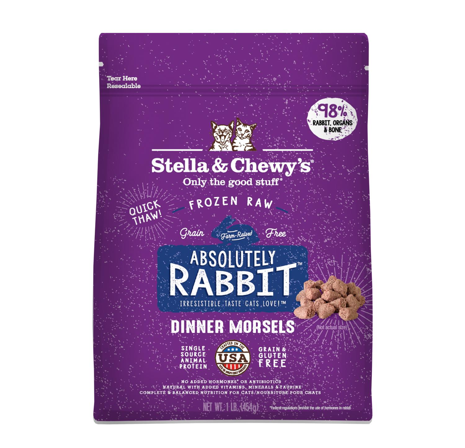 Stella & Chewy's Absolutely Rabbit Dinner Morsels Raw Frozen Cat Food, 1-lb (Size: 1-lb) Image