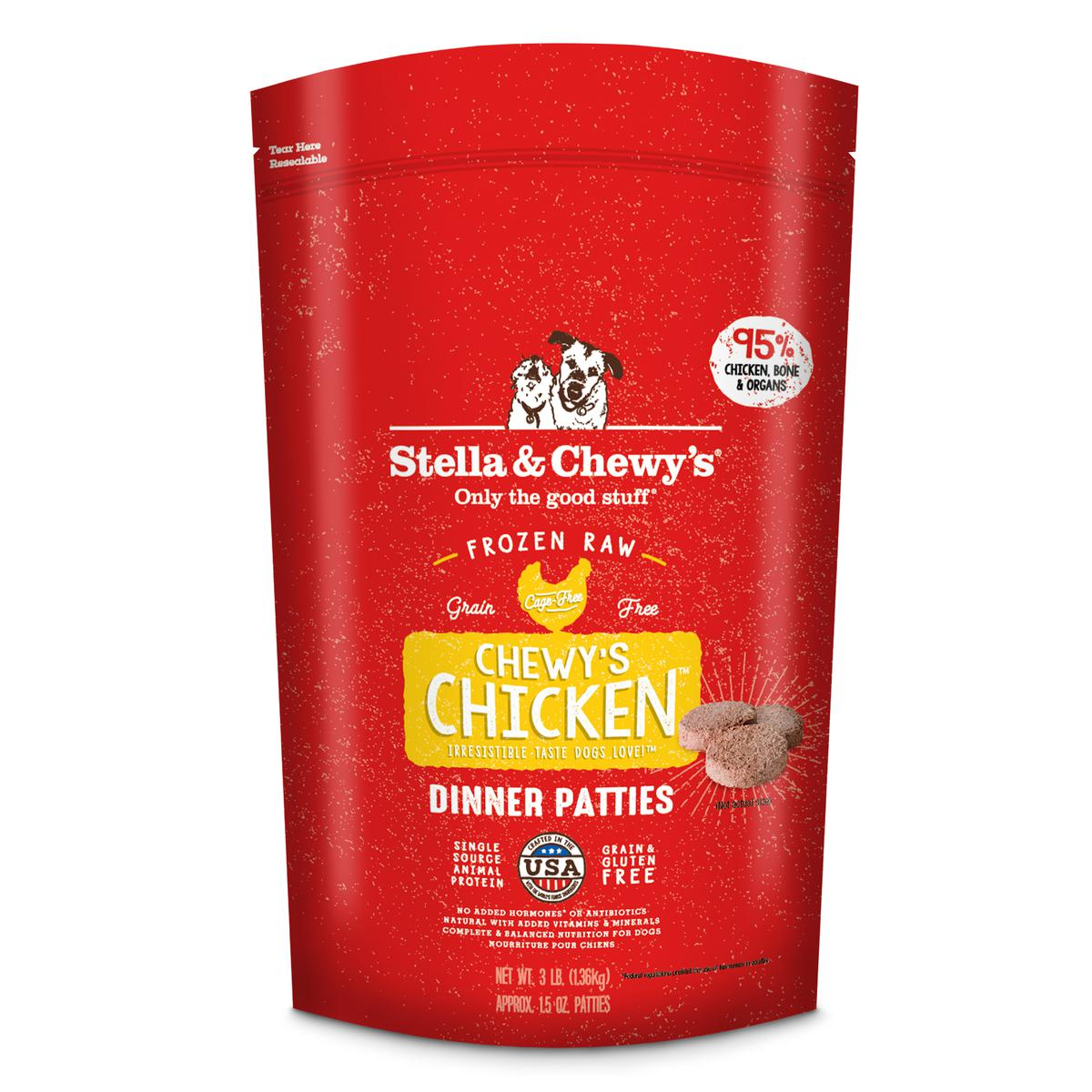 Stella & Chewy's Chewy's Chicken 1.5-oz Dinner Patties Grain-Free Raw Frozen Dog Food, 3-lb