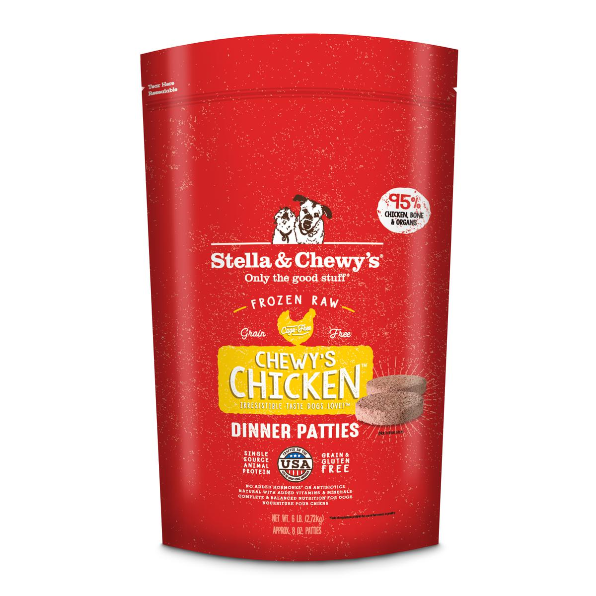 Stella & Chewy's Chewy's Chicken 8-oz Dinner Patties Grain-Free Raw Frozen Dog Food, 6-lb