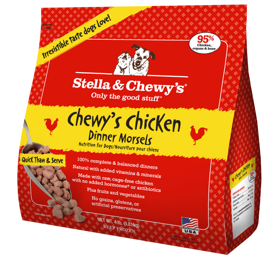 Stella & Chewy's Chewy's Chicken Dinner Morsels Grain-Free Raw Frozen Dog Food, 4-lb