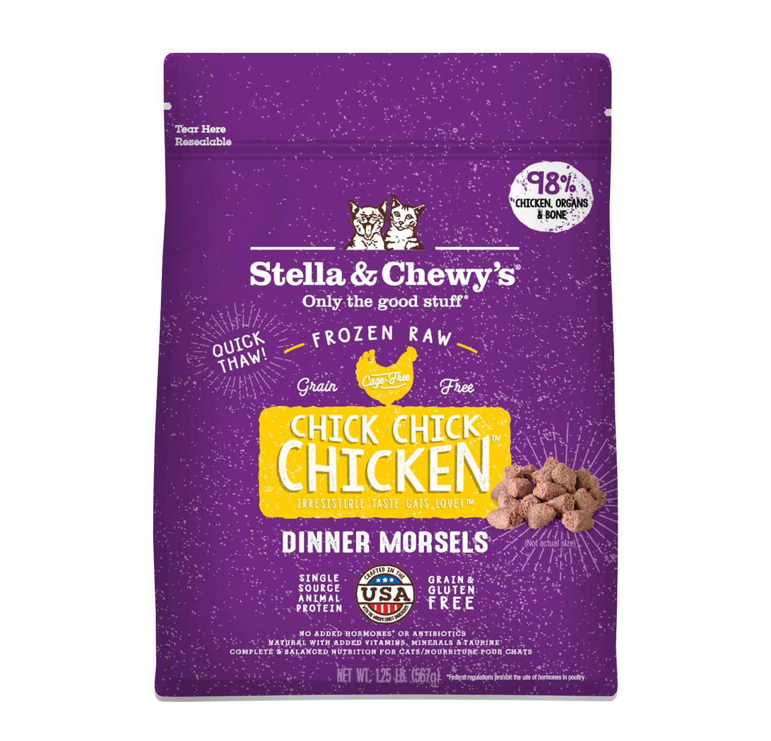 Stella & Chewy's Chick Chick Chicken Dinner Morsels Raw Frozen Cat Food, 1.25-lb (Size: 1.25-lb) Image