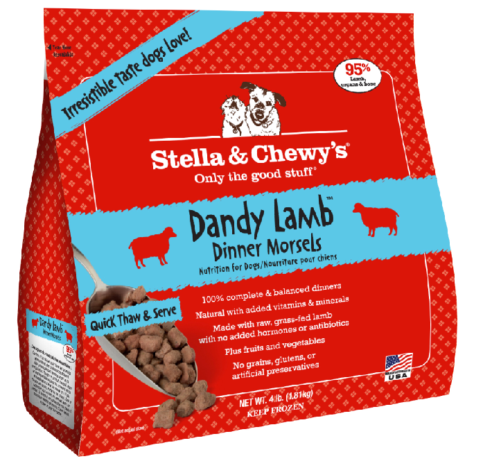 Stella & Chewy's Dandy Lamb Dinner Morsels Grain-Free Raw Frozen Dog Food, 4-lb (Size: 4-lb) Image