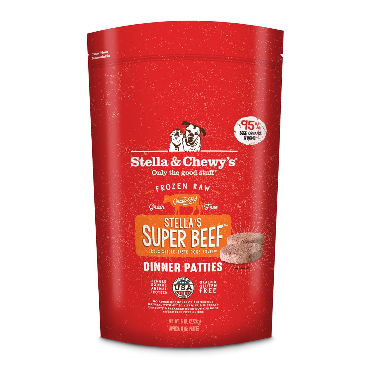 Stella & Chewy's Stella's Super Beef 8-oz Dinner Patties Grain-Free Raw Frozen Dog Food, 6-lb