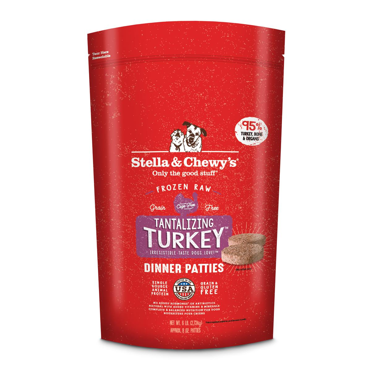 Stella & Chewy's Tantalizing Turkey Dinner Patties Raw Frozen Dog Food, 6-lb