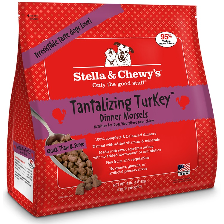 Stella & Chewy's Tantalizing Turkey Dinner Morsels Grain-Free Raw Frozen Dog Food, 4-lb (Size: 4-lb) Image