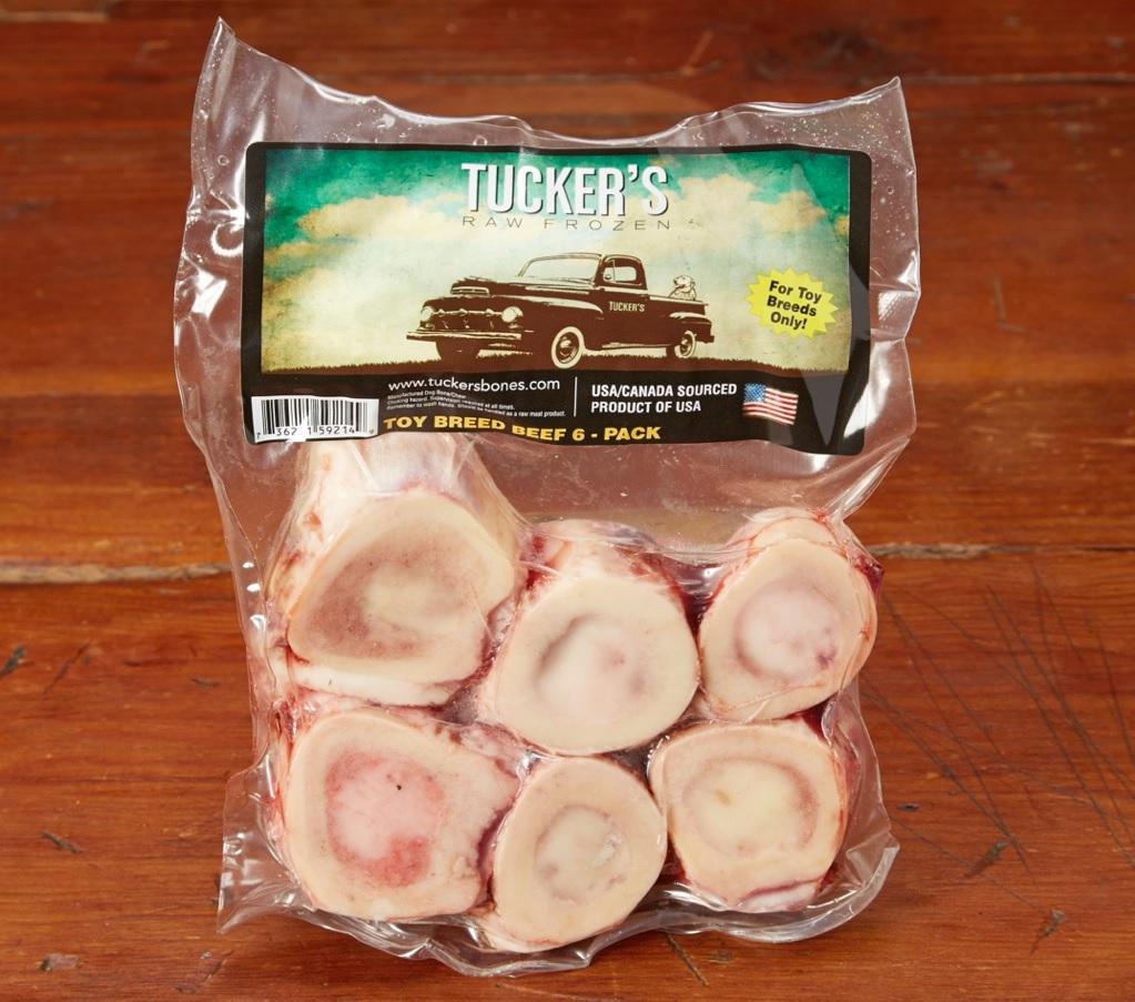 Tucker's Raw Frozen Toy Breed Beef Bone Raw Frozen Dog Treats, 6-pack