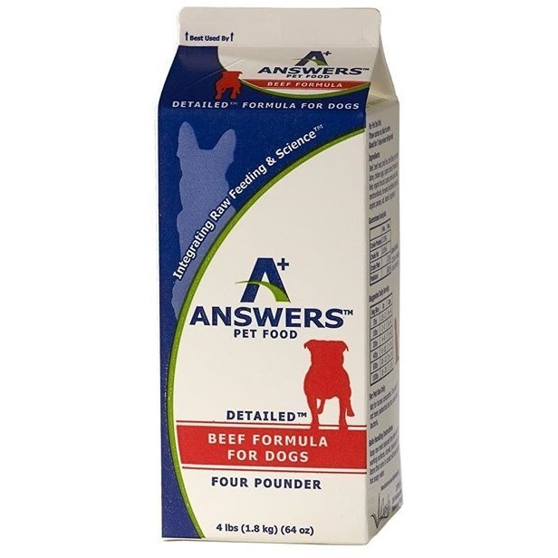 Answers Detailed Formula Raw Beef Frozen Dog Food, 4-lb
