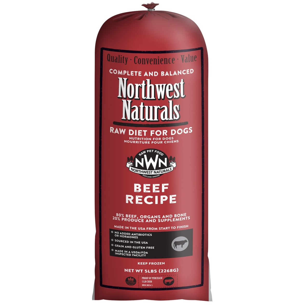 Northwest Naturals Raw Diet Grain-Free Beef Chub Roll Raw Frozen Dog Food, 5-lb