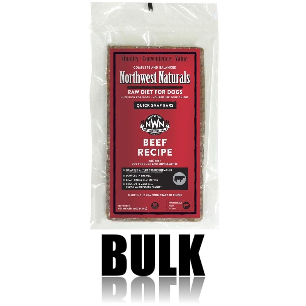 Northwest Naturals Raw Diet Grain-Free Beef Dinner Bar Raw Frozen Dog Food, BULK 25-lb