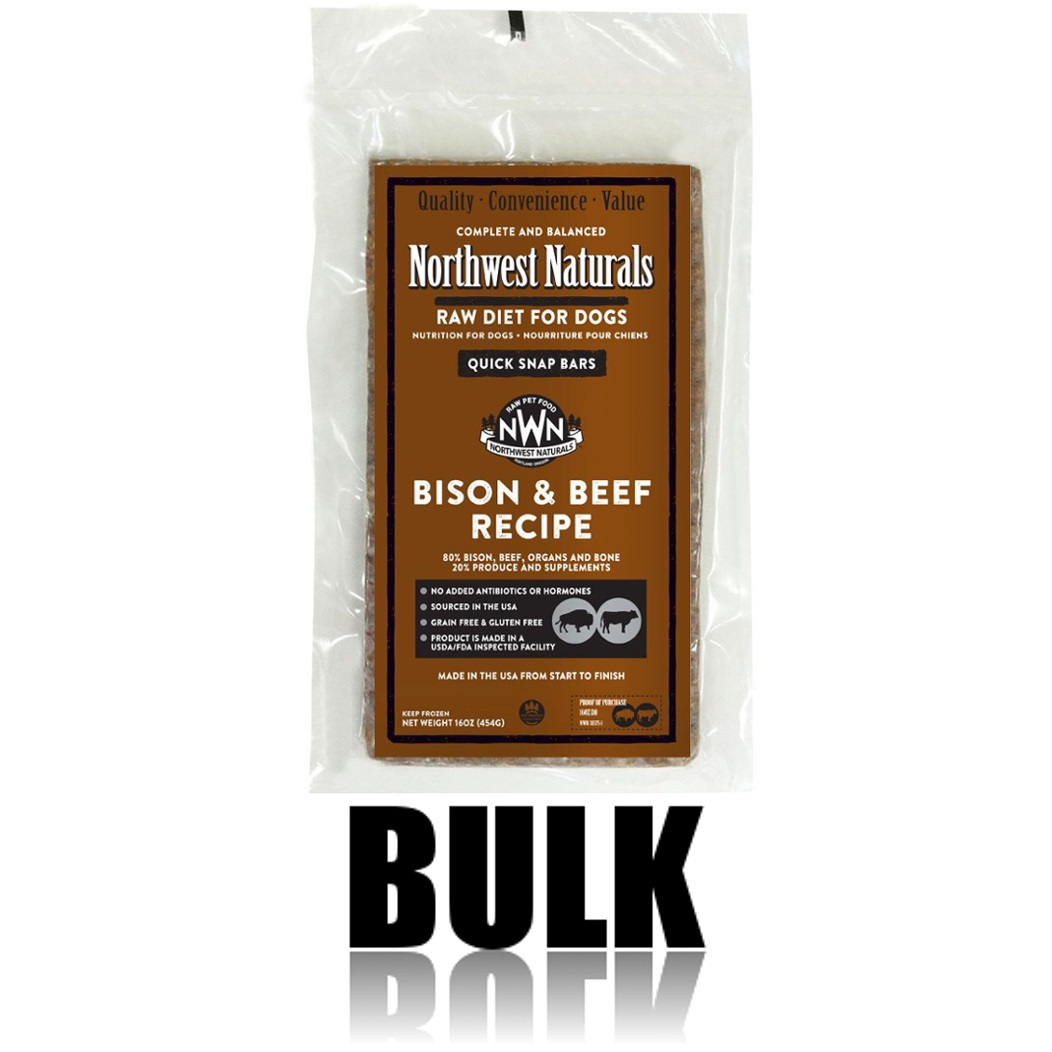 Northwest Naturals Raw Diet Grain-Free Bison & Beef Dinner Bar Raw Frozen Dog Food, BULK 25-lb