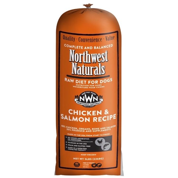 Northwest Naturals Raw Diet Grain-Free Chicken & Salmon Chub Roll Raw Frozen Dog Food, 5-lb