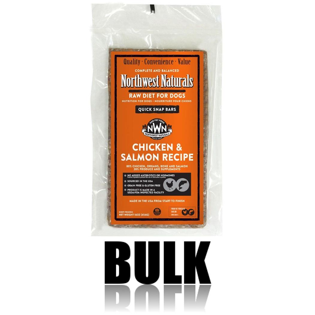Northwest Naturals Raw Diet Grain-Free Chicken & Salmon Dinner Bar Raw Frozen Dog Food, BULK 25-lb