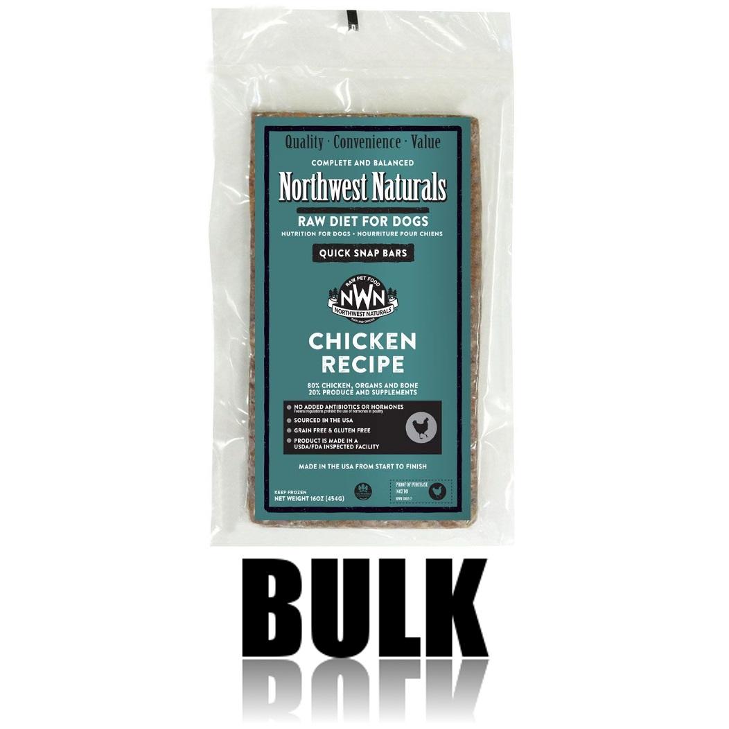 Northwest Naturals Raw Diet Grain-Free Chicken Dinner Bar Raw Frozen Dog Food, BULK 25-lb