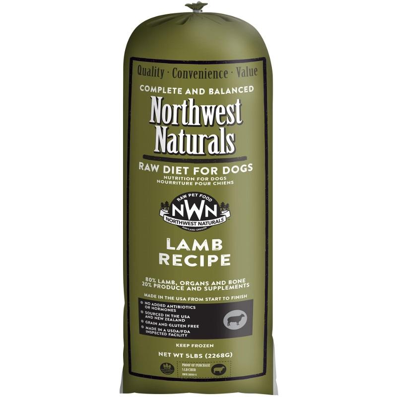 Northwest Naturals Raw Diet Grain-Free Lamb Chub Roll Raw Frozen Dog Food, 5-lb