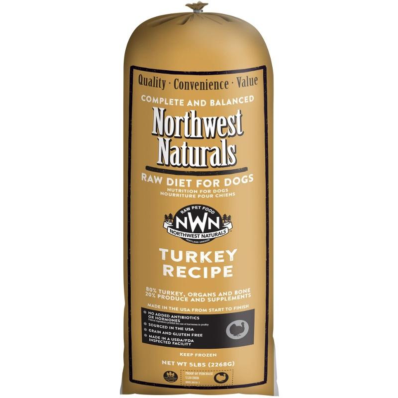 Northwest Naturals Raw Diet Grain-Free Turkey Chub Roll Raw Frozen Dog Food, 5-lb