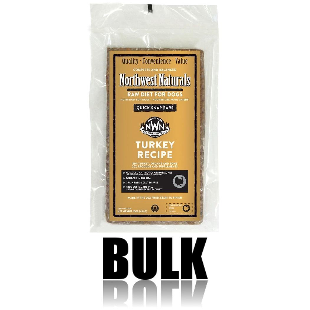 Northwest Naturals Raw Diet Grain-Free Turkey Dinner Bar Raw Frozen Dog Food, BULK 25-lb