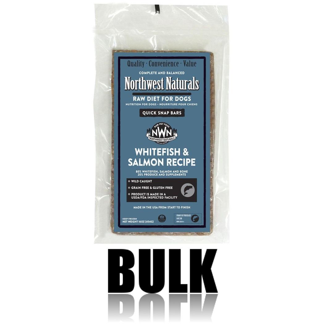 Northwest Naturals Raw Diet Grain-Free Whitefish & Salmon Dinner Bar Raw Frozen Dog Food, BULK 25-lb