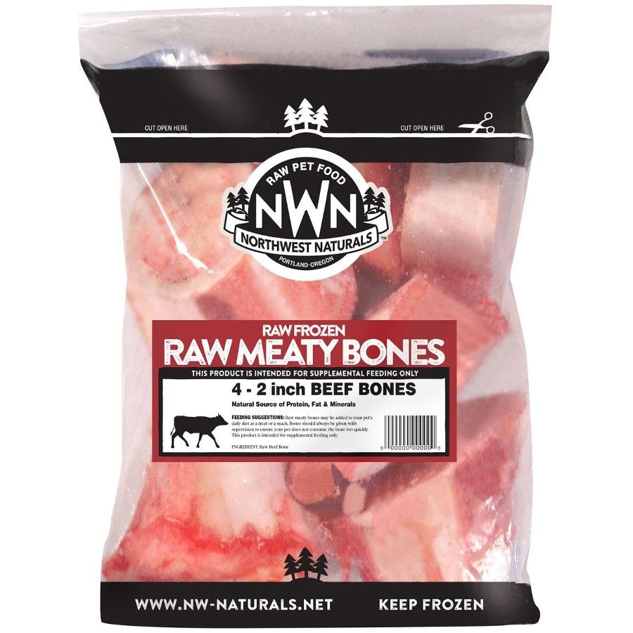"Northwest Naturals 'Raw Meaty Bones' 2"" Beef Bone Raw Frozen Dog Treats, 4-pk"