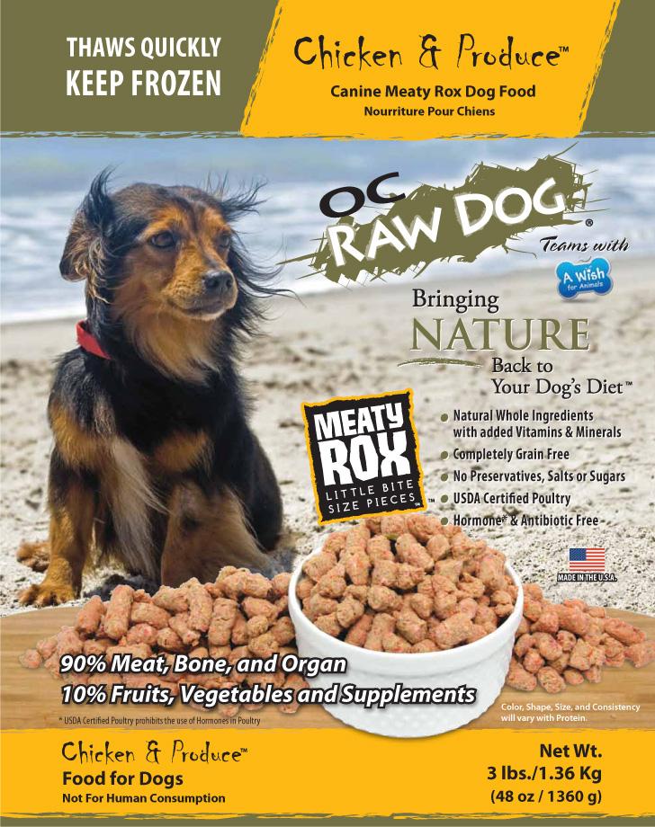 OC Raw Dog Chicken & Produce Meaty Rox Raw Frozen Dog Food, 3-lb