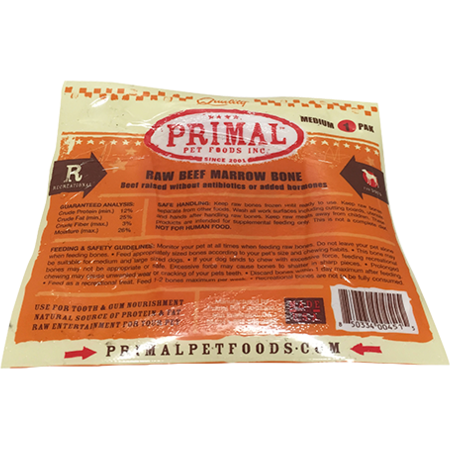 Primal Raw Beef Marrow Bone Raw Frozen Dog Treat, Medium, 1-pk