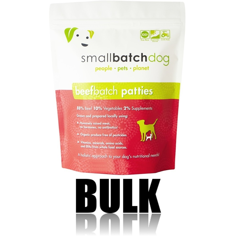 Small Batch Dog Beef Batch 8-oz Patties Raw Frozen Dog Food, 18-lb bulk