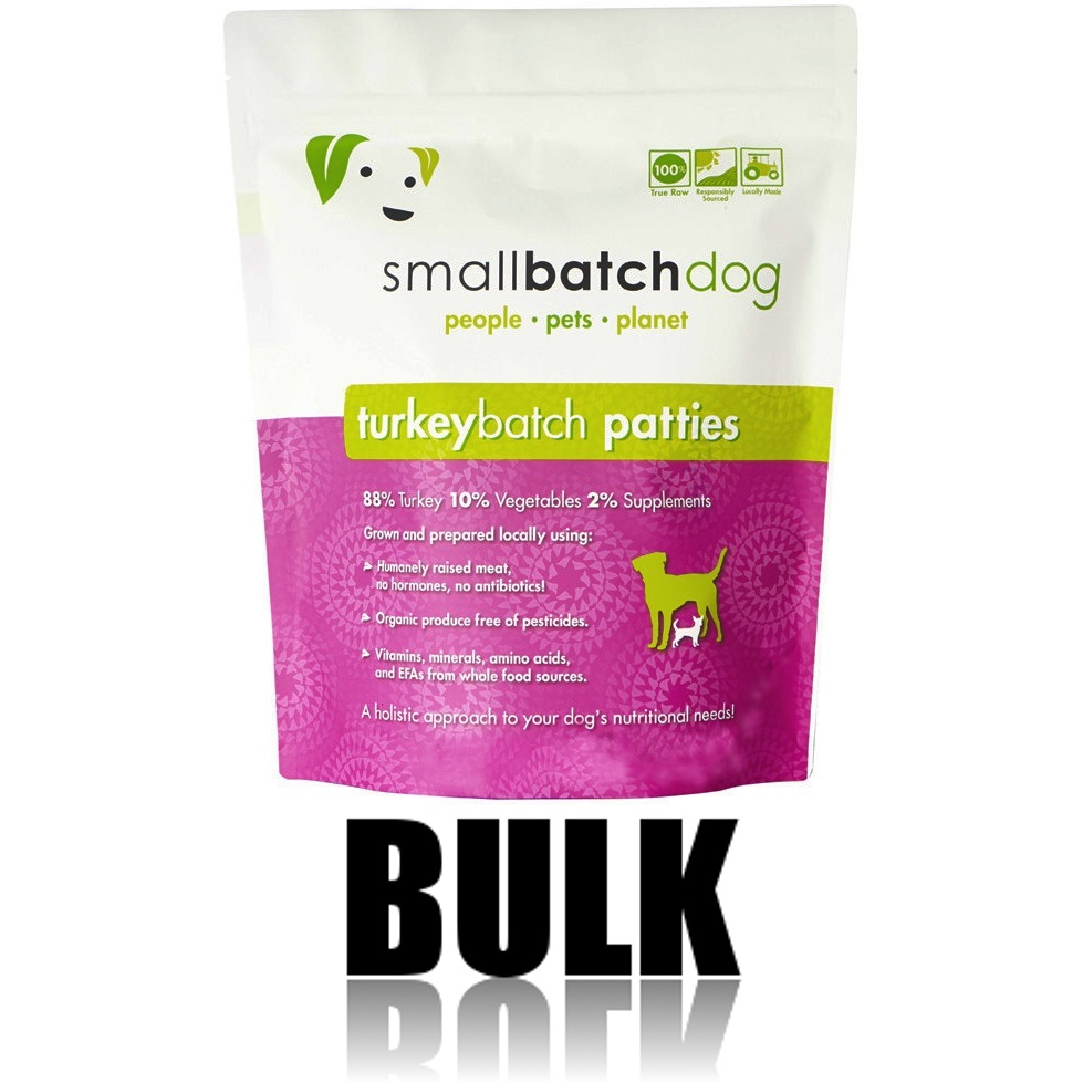 Small Batch Dog Turkey Batch 8-oz Patties Raw Frozen Dog Food, 18-lb bulk