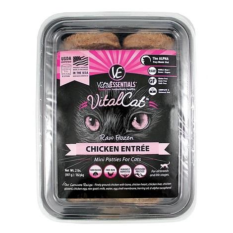 Vital Essentials Vital Cat Chicken Mini Patties Raw Frozen Cat Food, 2lbs