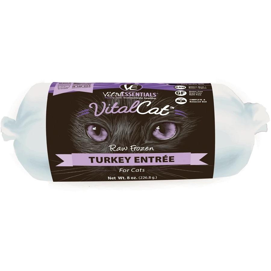 Vital Essentials Vital Cat Turkey Chub Roll Raw Frozen Cat Food, 8z
