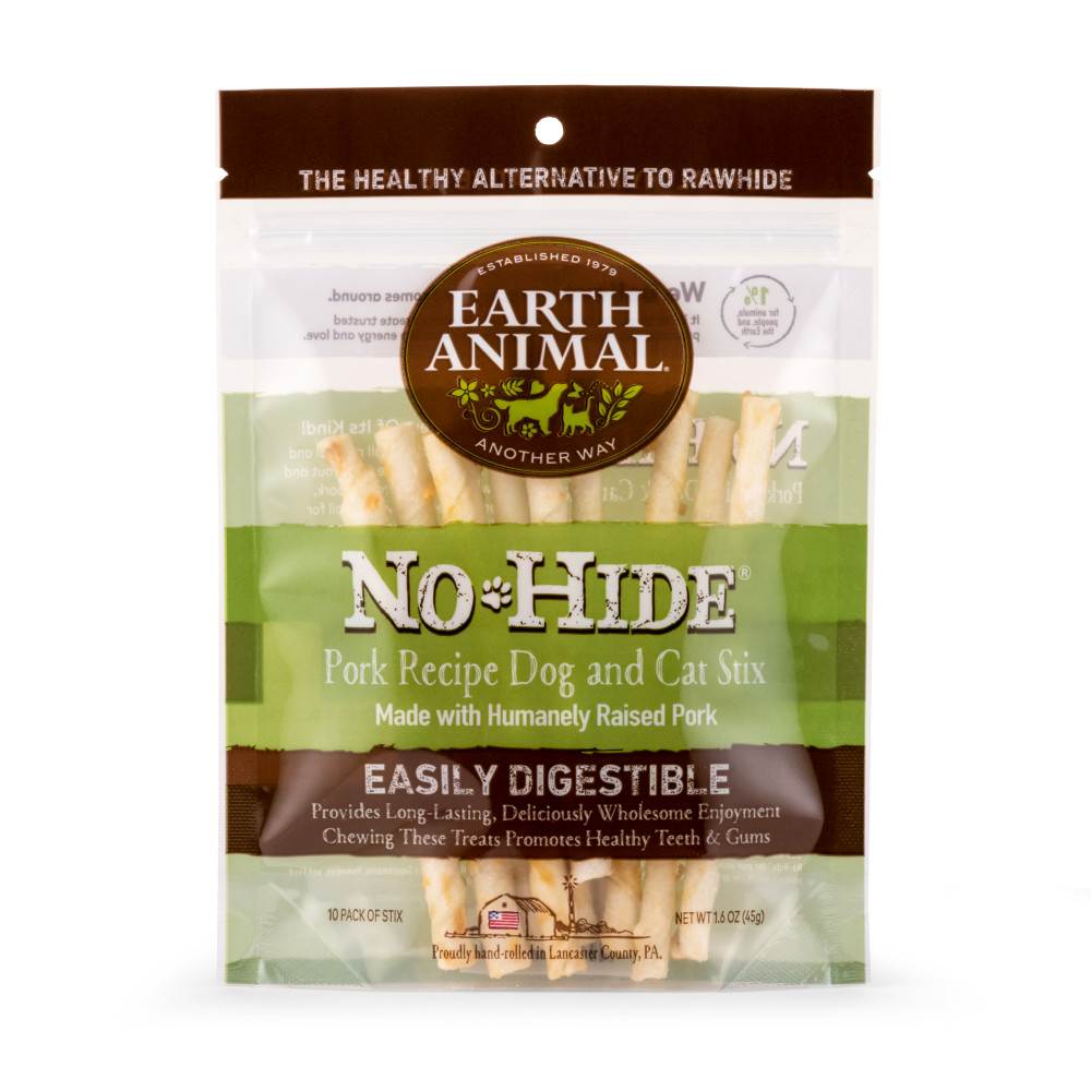 Earth Animal No-Hide Pork Stix Chew Dog Treats, 10-pack