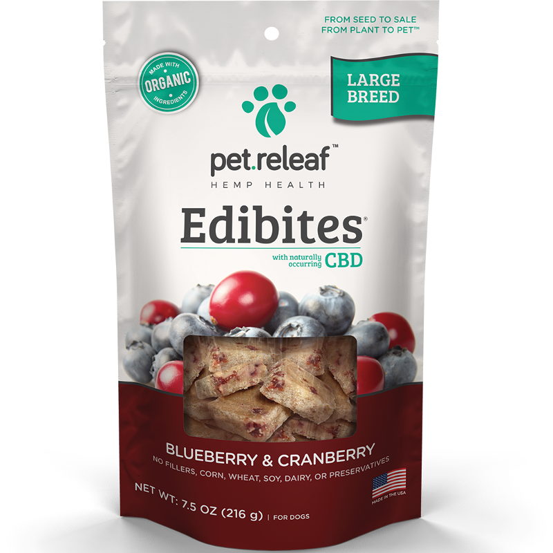 Pet Releaf Edibites Blueberry & Cranberry Large Breed Dog Treats, 30-count