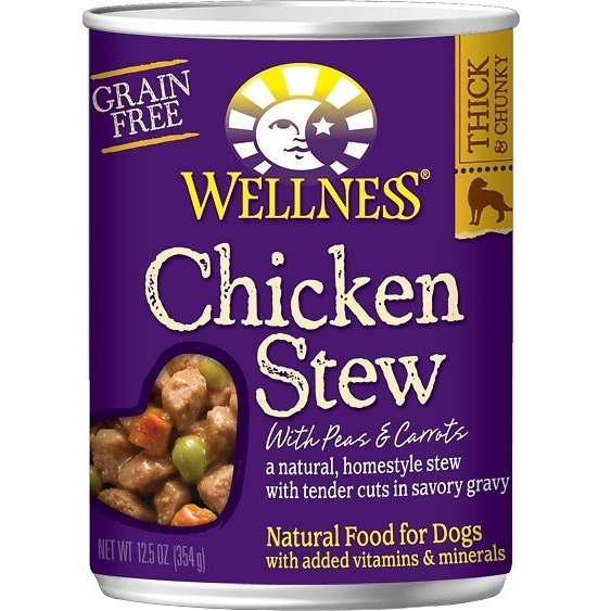 Wellness Homestyle Stew Chicken with Peas & Carrots Grain-Free Canned Dog Food, 12.5-oz, case of 12
