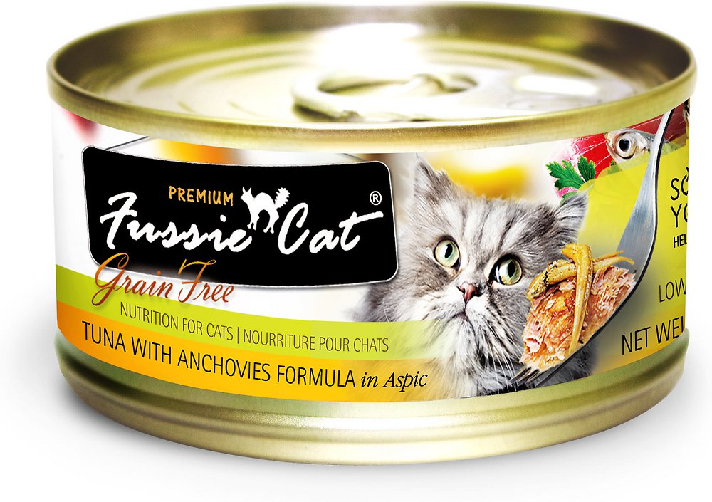 Fussie Cat Premium Tuna with Anchovies Formula in Aspic Grain-Free Canned Cat Food, 2.82-oz, case of 24