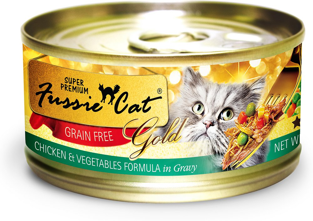 Fussie Cat Super Premium Chicken & Vegetables Formula in Gravy Grain-Free Canned Cat Food, 2.82-oz, case of 24