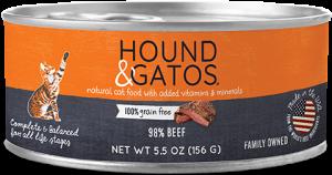 Hound & Gatos Beef Formula Grain-Free Canned Cat Food, 5.5-oz, case of 24