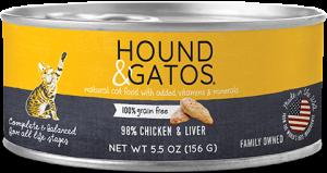 Hound & Gatos Chicken & Chicken Liver Formula Grain-Free Canned Cat Food, 5.5-oz, case of 24