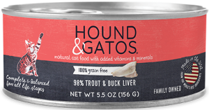 Hound & Gatos Trout Formula Grain-Free Canned Cat Food, 5.5-oz, case of 24