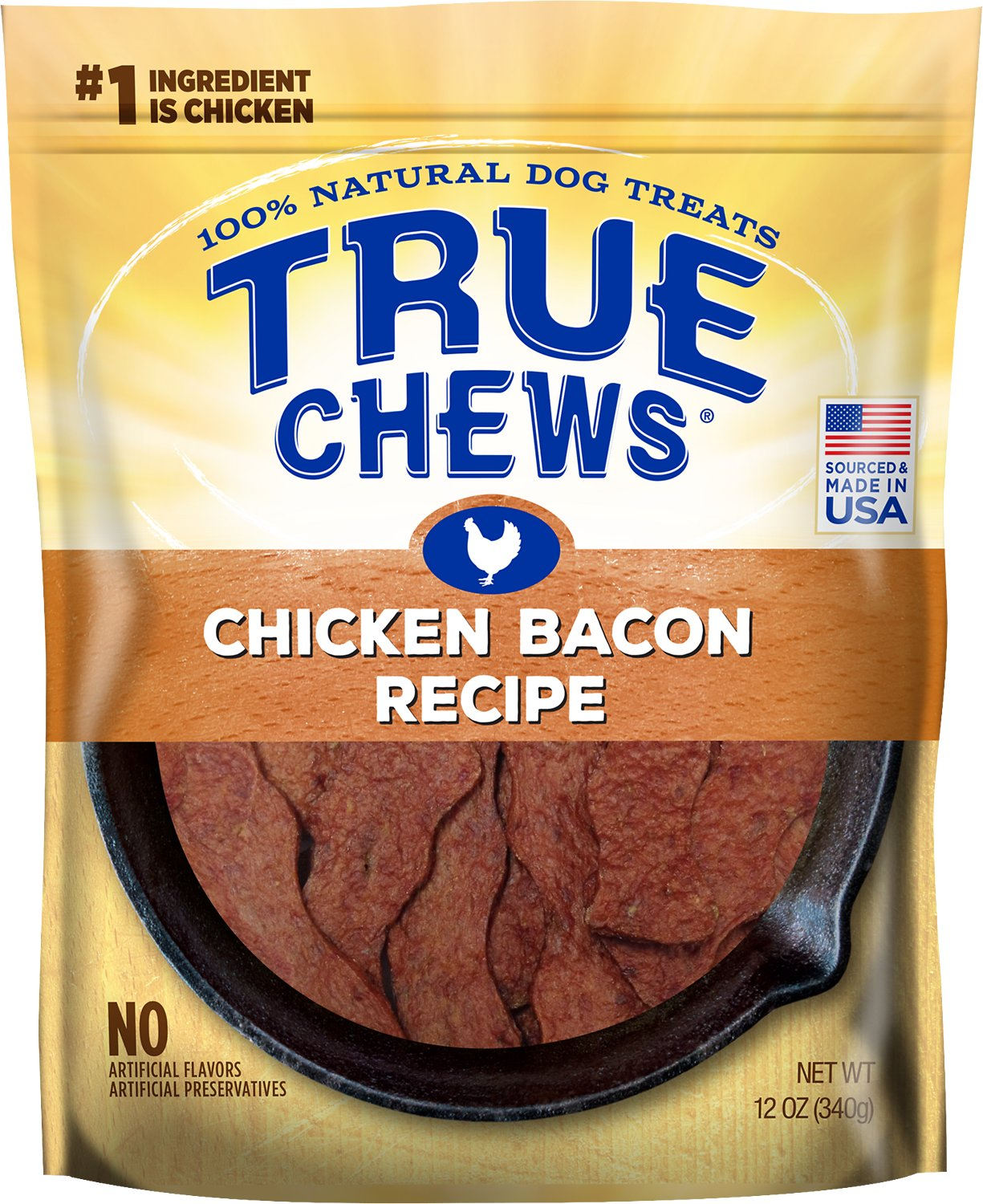 True Chews Chicken Bacon Recipe Dog Treats, 12-oz bag