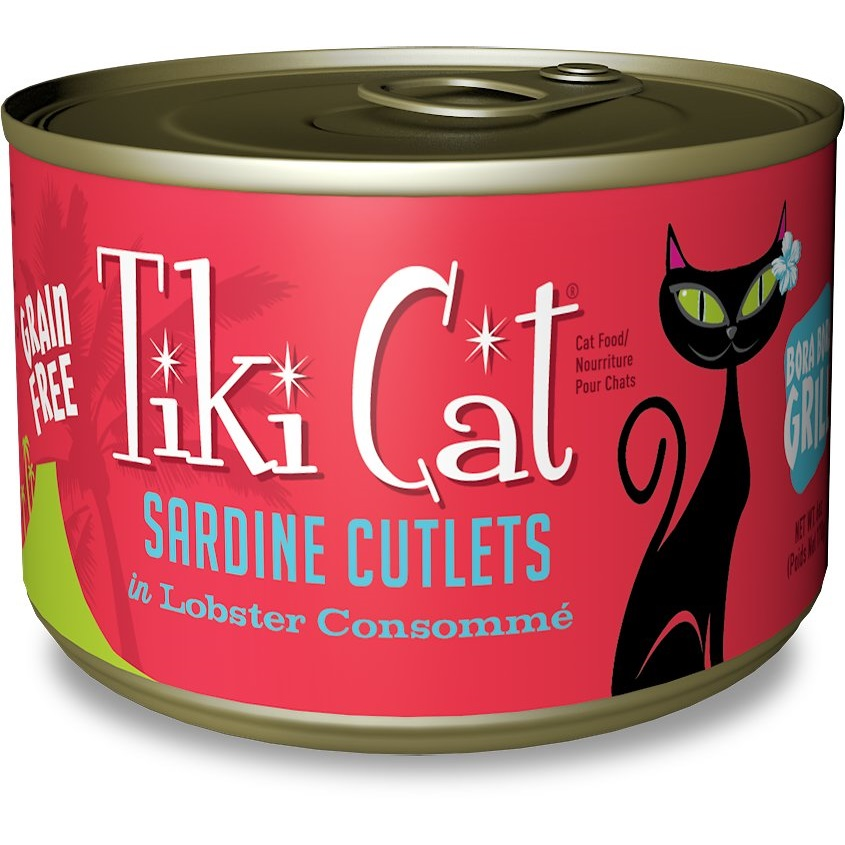 Tiki Cat Bora Bora Grill Sardine Cutlets in Lobster Consomme Grain-Free Canned Cat Food, 6-oz