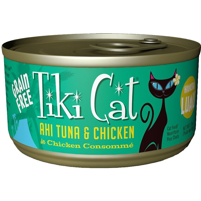 Tiki Cat Hookena Luau Ahi Tuna & Chicken in Chicken Consomme Grain-Free Canned Cat Food, 2.8-oz