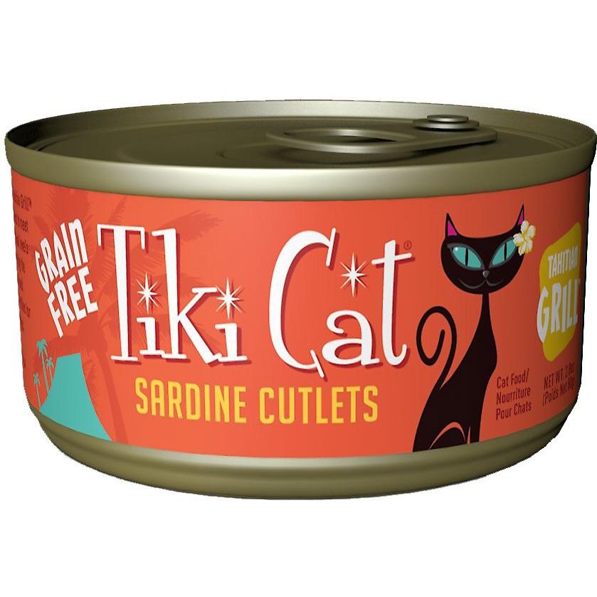 Tiki Cat Tahitian Grill Sardine Cutlets Grain-Free Canned Cat Food, 2.8-oz
