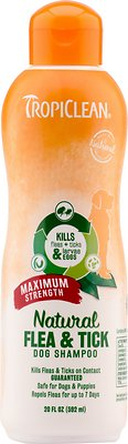 TropiClean Maximum Strength Natural Flea & Tick Dog Shampoo, 20-oz bottle